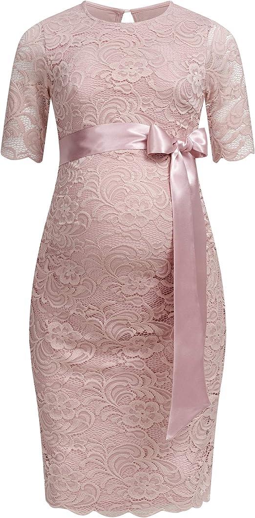 Herzmutter Umstands Spitzen Kleid Elegantes knielanges