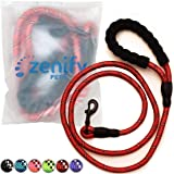 Zenify Pets Dog Lead - Durable Strong Chew Resistant Slip Lead Nylon Rope Padded Handle Mountain Climbing Harness Pet Puppy Training Slipknot Leash for Walking [1.2cm Thick 183cm Long] (Red 6ft)