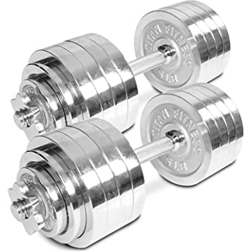best selling TITAN FITNESS Pair of Adjustable Chrome Dumbbells Weight 105 lb Total Weight