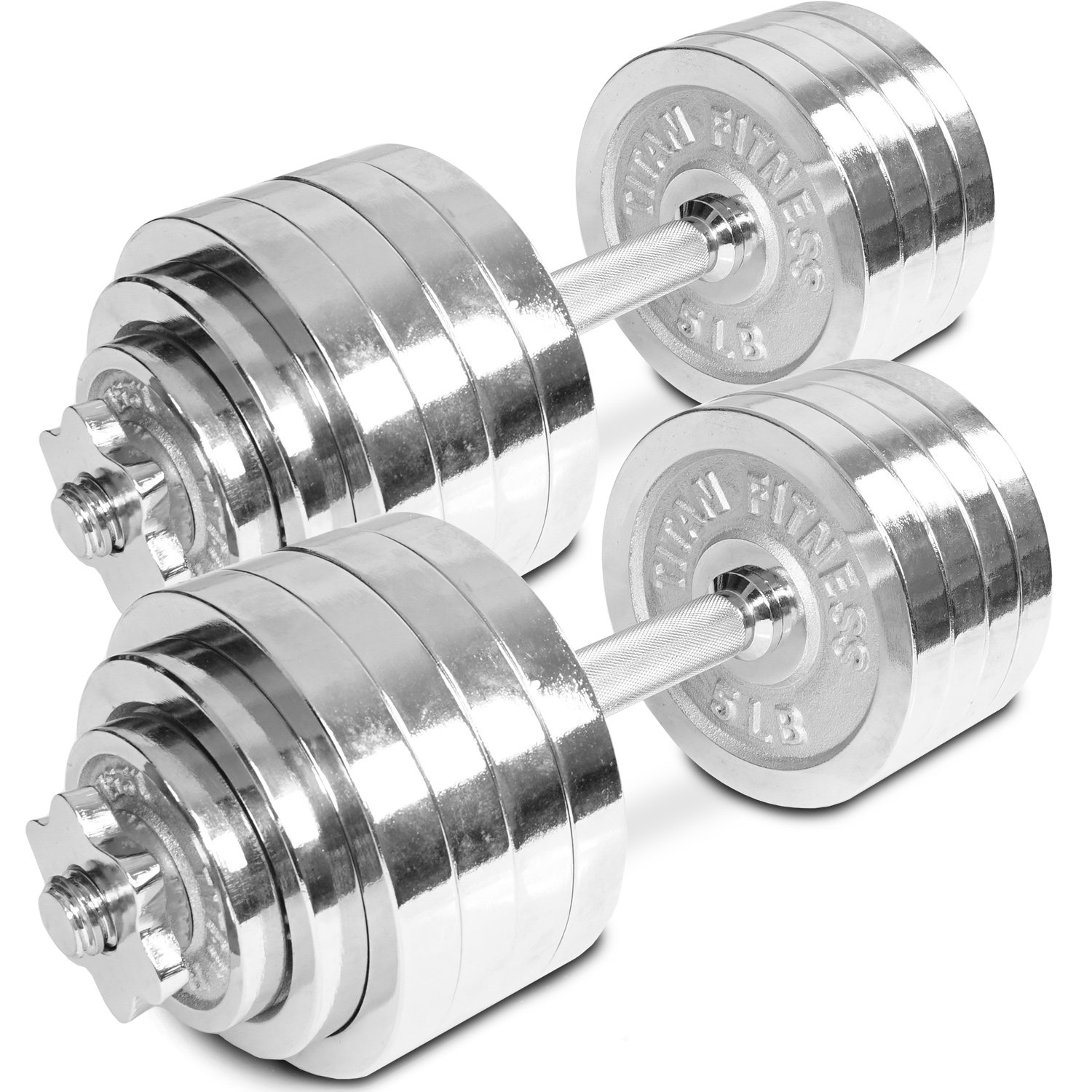 Pair of Adjustable Chrome Dumbbells Weight 105 lb Total Weight by Titan Fitness