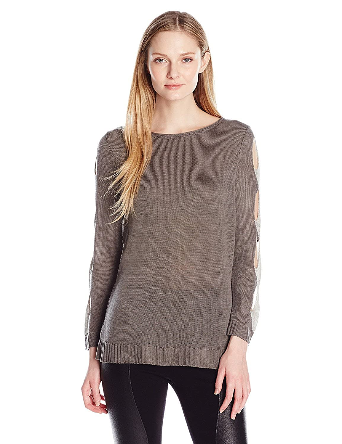 NY Collection Women's Petite Size Long Boat Neck Pull Over with Cut Out Detail Along Sleeve YSSU0696