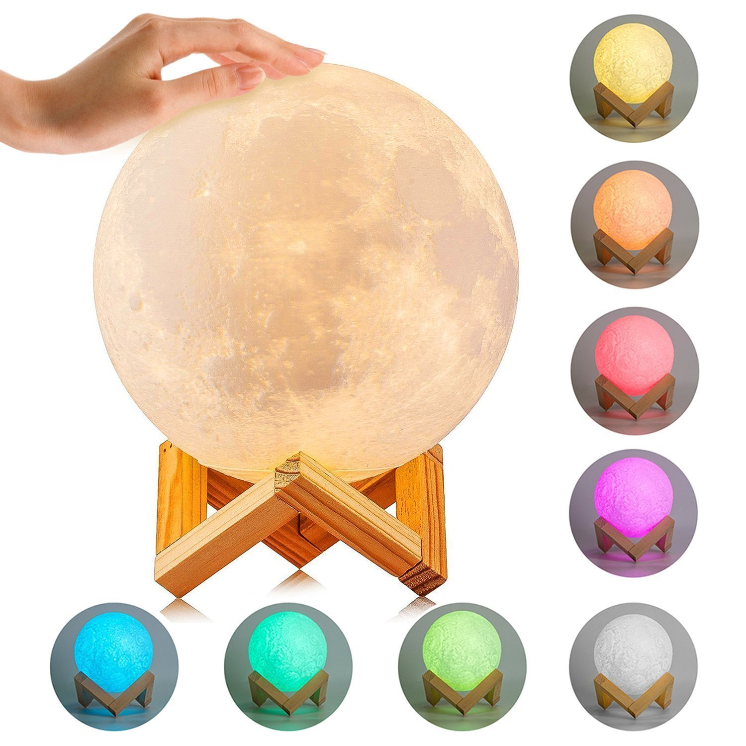 Moon Lamp, ICOCO 3D Printing Moon Light, Dimmable Touch Control LED Night Light 8 Colors, USB Rechargeable Home Decorative Light Lamps for Creative Gift with Wooden Holder 5.9 Inch