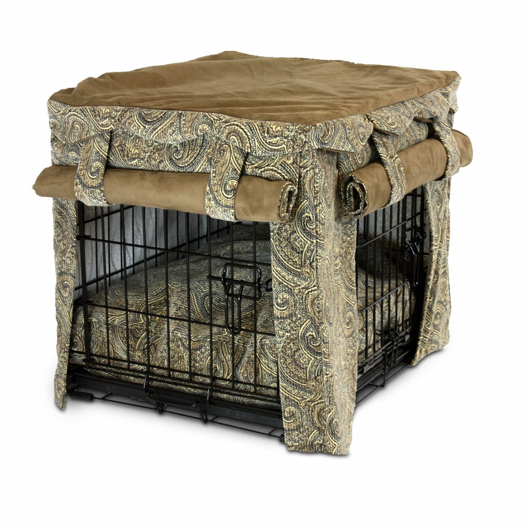 Snoozer Cabana Pet Crate Cover with Pillow Dog Bed, Large, Sicilly/Coffee