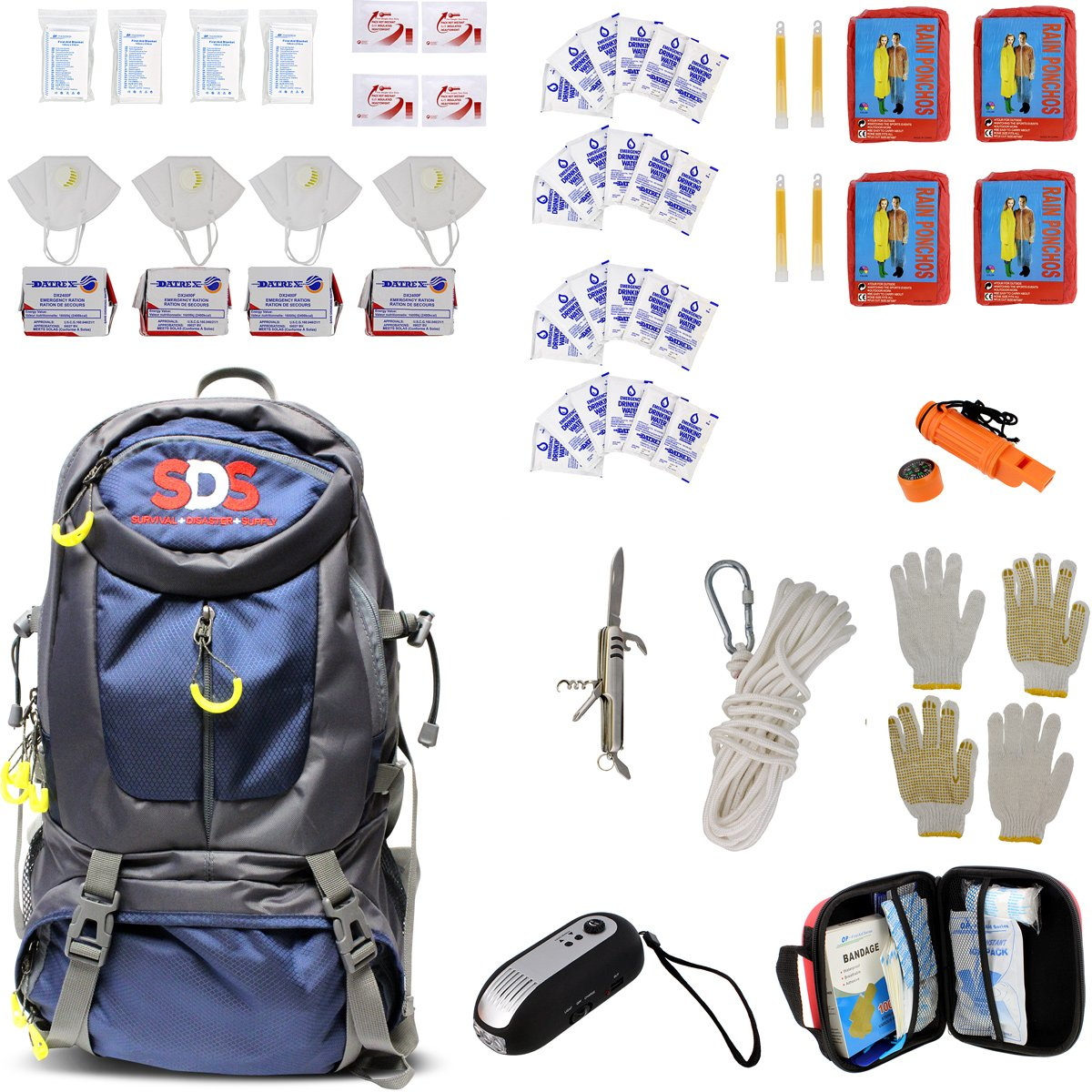 SDS Survival Backpack Emergency Disaster Prepper Gear Bag Food Kit Earthquake, Zombie Apocalypse Supplies 4 Person 72 Hr by SDS