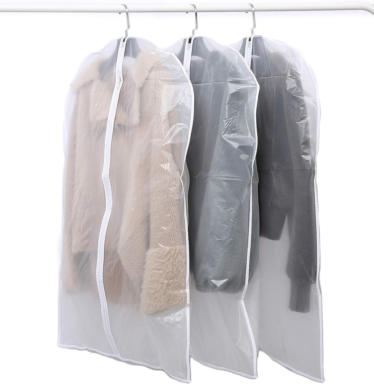 a Prueba de Polvo 100+120cm Ligera Runsabay para Vestidos con Cremallera Plegable 6 Fundas Transparentes para Ropa Transparente Impermeable Lavable Borde Blanco A