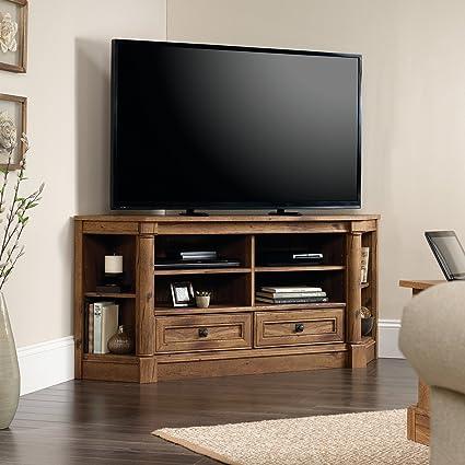 Media Audio Credenza Entertainment Center, Open Storage Space, 2 Bottom  Drawers, Adjustable Shelves