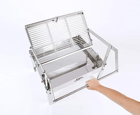 JMN INOX Barbacoa DE CARBÓN DE SOBREMESA Modelo AHAND con Sistema Giratorio de Parrillas Desmontables y Lavables en el lavavajillas: Amazon.es: Hogar