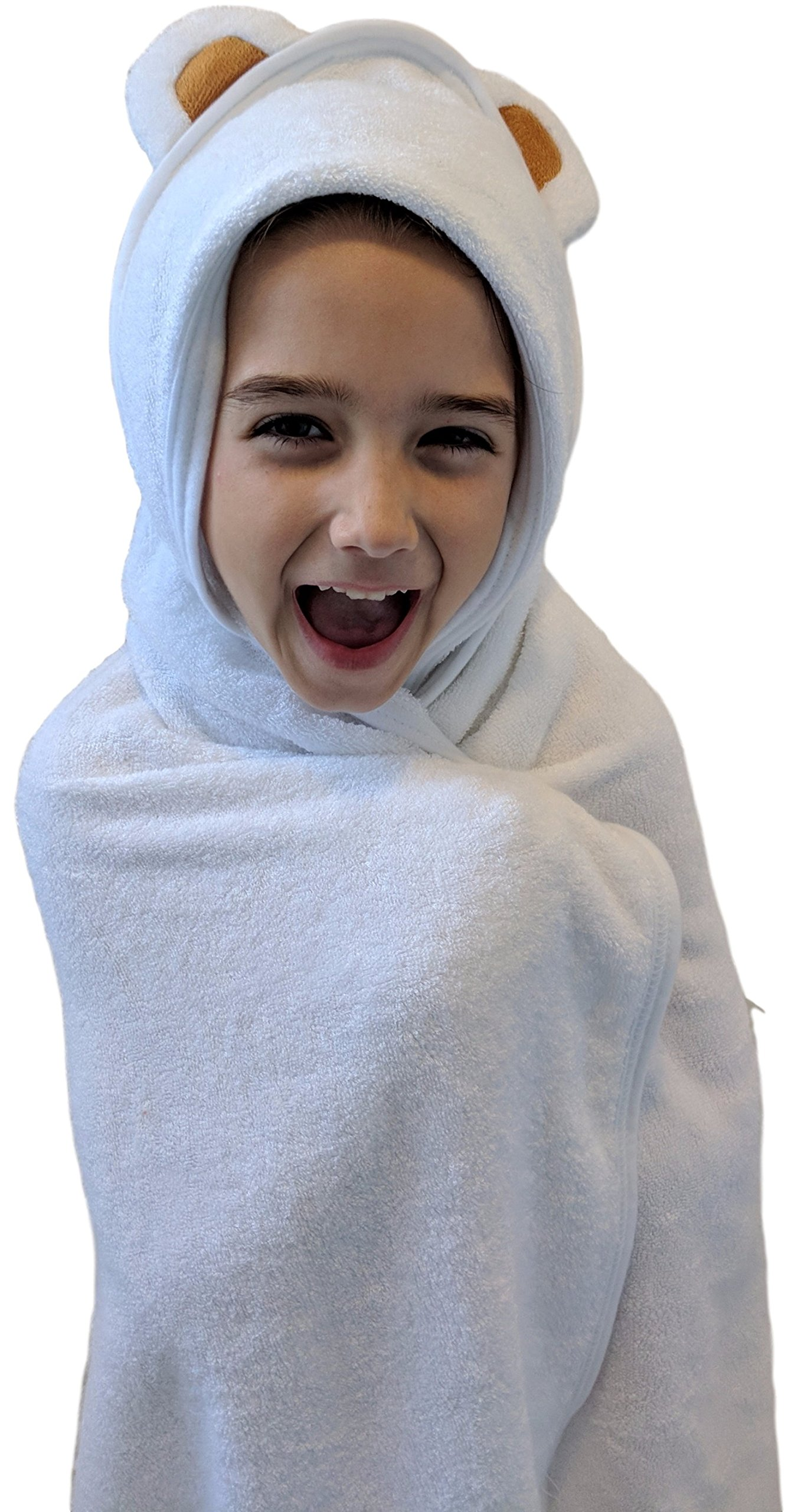 Coconut Baby Hooded Bamboo Towel - 100% Natural - Hypoallergenic - Soft and Absorbent - Thick and Large for Toddlers, Kids, Girls and Boys. Soft with Ears! 90 x 90 cm / 35 x 35 in