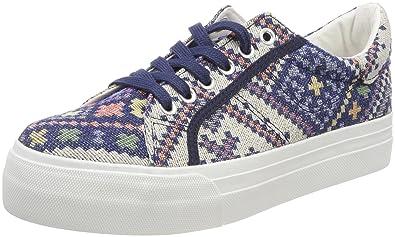 23602, Sneakers Basses Femme, Bleu (Blue Ethno), 36 EUTamaris