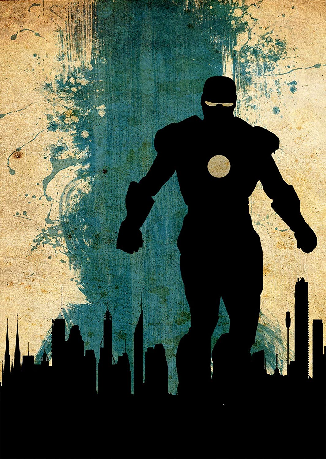 The Avengers Iron Man Minimalist Watercolor Vintage Poster Avengers Collectibles Print Tony Stark Robert Downey Jr. JARVIS Gwyneth Paltrow Artwork Home Decor Wall Hanging Cool Gift