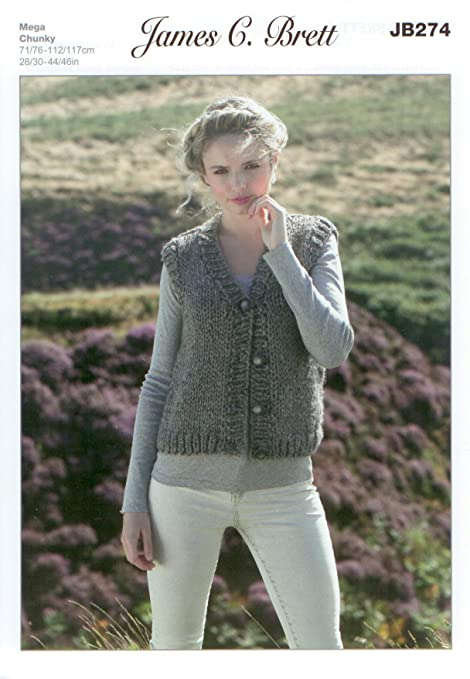 8f0e659d3a3a7 James C Brett JB274 Knitting Pattern Ladies Waistcoat in Rustic Mega Chunky  28-46 inch  Amazon.co.uk  Kitchen   Home
