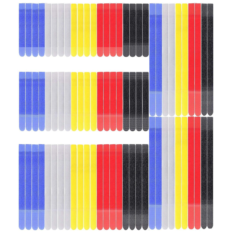 5// 6// 8// 11 SAISN 80pcs Cable Ties Reusable Fastening Double Hook Tie Organiser for Cord Management Multi-colour