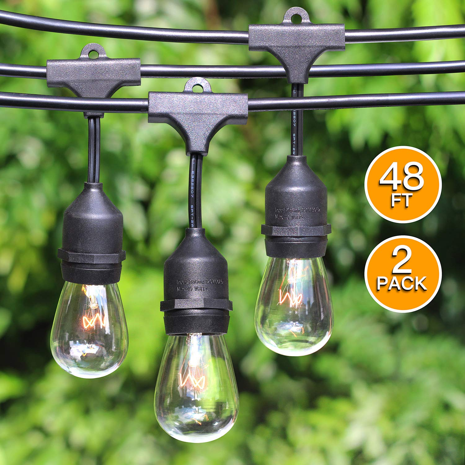 2-Pack 48Ft Heavy Duty Outdoor Patio String lights, Edison Vintage Dimmable 11S14 Bulbs w/ Hanging Sockets, Commercial Grade Weatherproof Market Cafe Lights for Bistro Backyard Pergola Party, Blk