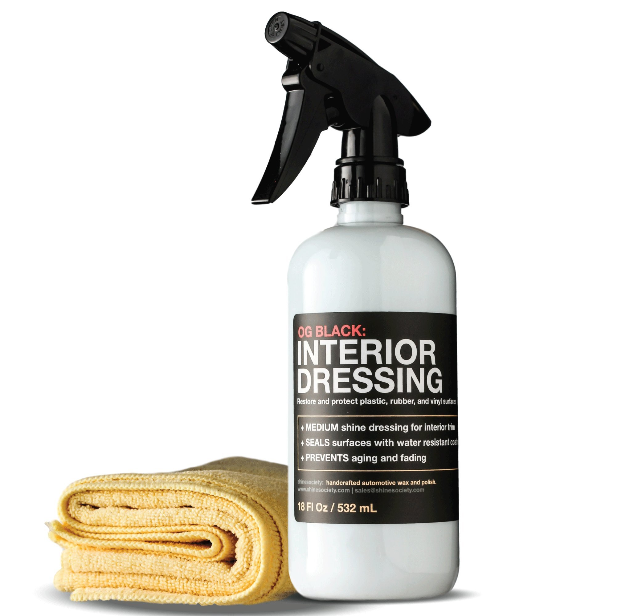 Shine Society Semi Gloss Protective Dressing for Vinyl, Plastic, Rubber, Leather and More, with MICROFIBER TOWEL INCLUDED (18 oz.)