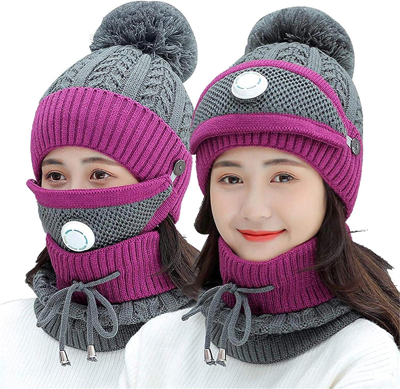 Winddichte Winter Strickm/ütze M/ütze Hut Schal Nackenw/ärmer Handschuhe Set mit dicken warmen Fleece gef/üttert f/ür M/änner Frauen Erwachsene im Freien
