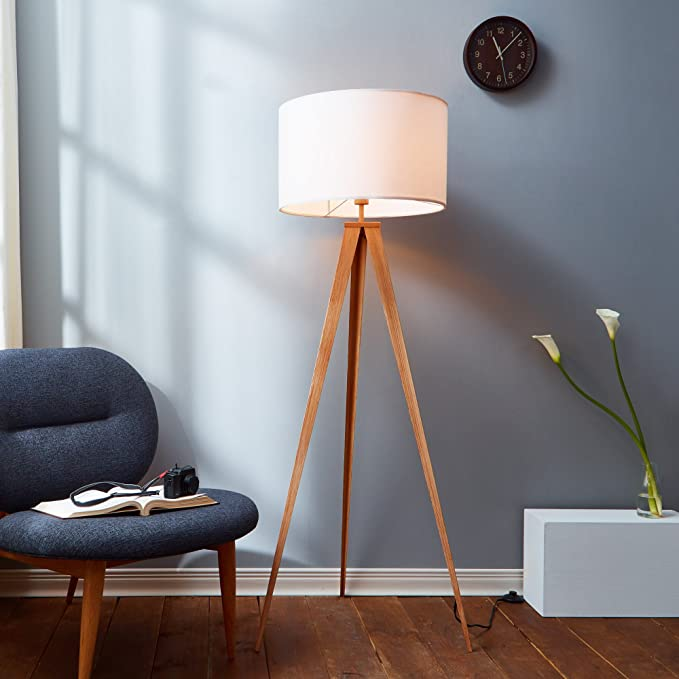 Versanora romanza 153cm tripod floor lamp reading light for living room bedroom foot switch white fabric drum shade wood finished stand amazon co uk