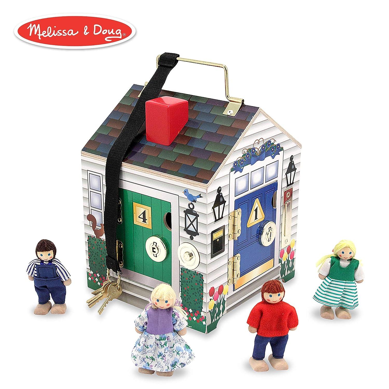 Melissa Doug Take Along Wooden Doorbell Dollhouse Doorbell Sounds Keys 4 Poseable Wooden Dolls 9 H X 68 W X 68 L