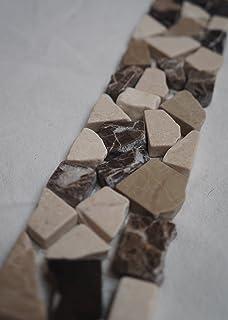 Mosaik Bordüre 5x30 Cm Naturstein Fliesen Braun Creme Mix Bad ... Bad Beige Fliesen Mit Bordure