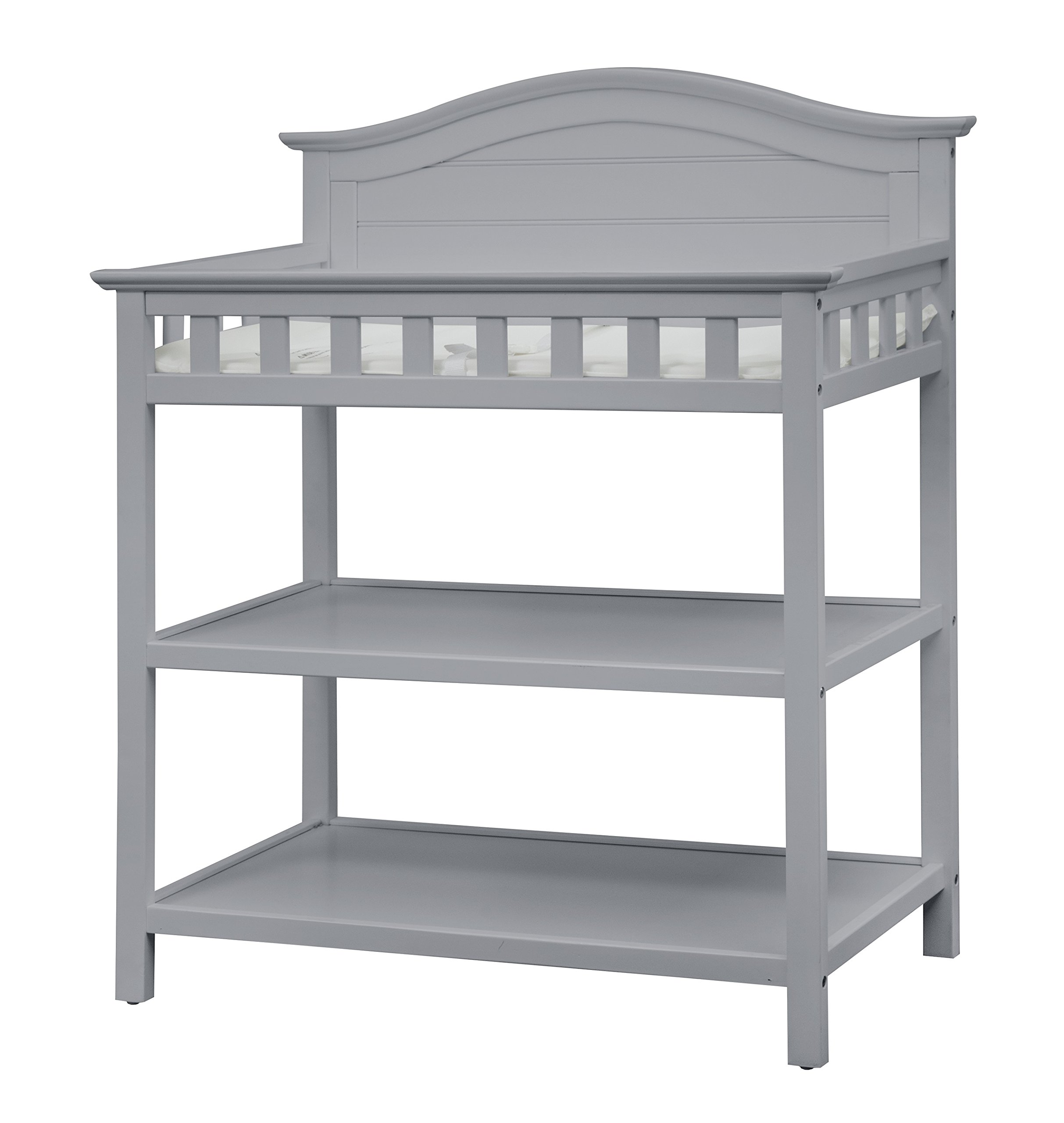 Thomasville Kids Southern Dunes Changing Table, Pebble Gray, Changing Table with Water Resistant Changing Pad, Safety Strap & Two Storage Shelves, for Infants & Toddlers by Storkcraft