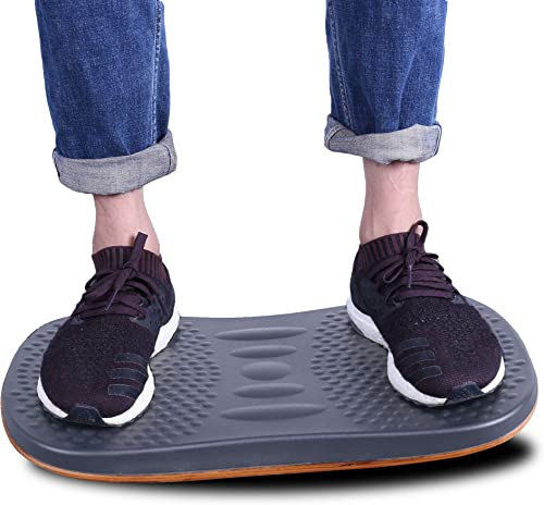 Licloud Wooden Balance Board Standing Mat Standing Mat Office Accessory – Foot Rocker Leg Exerciser