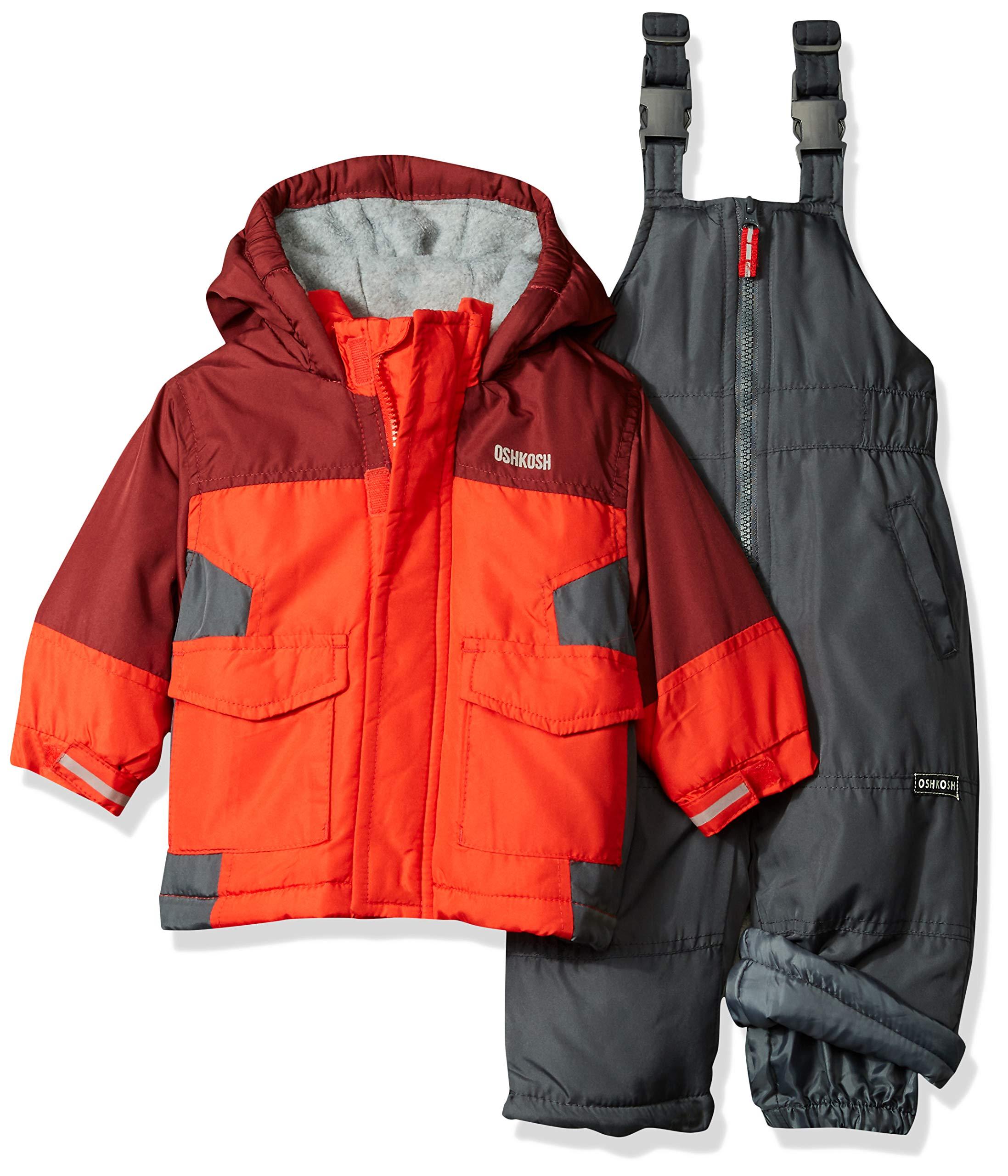 OshKosh B'Gosh Baby Boys Ski Jacket and Snowbib Snowsuit Set, Maple Leaf/Sneaker Grey, 12M
