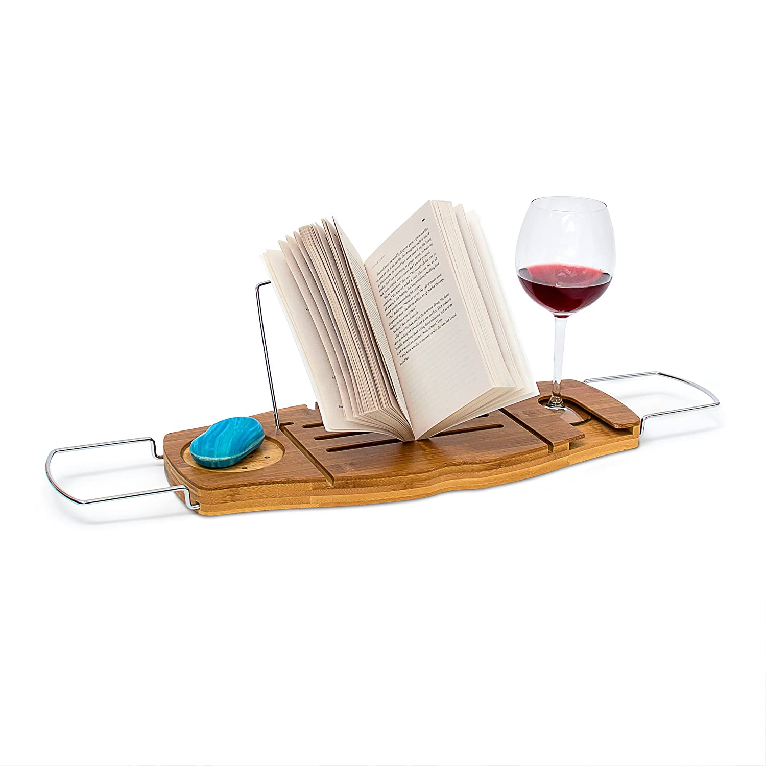 Relaxdays Bamboo Bathtub Caddy, Bath Tray With Book Stand, 17.5 x 70 x 21.5 cm, with Wine Glass Holder, Extendible, Natural Brown 10019195