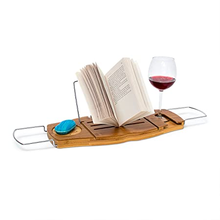 Relaxdays Bamboo Bathtub Caddy, Bath Tray With Book Stand, 17.5 x 70 ...