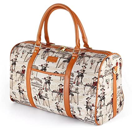 7f029599c94 Women Oversized Canvas Holdall,AIZBO Travel Carry On Duffel Bags PU Leather  Trim Overnight Weekend