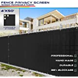 Windscreen4less Heavy Duty Privacy Screen Fence in Color Solid Black 4' x 50' Brass Grommets w/3-Year Warranty 150 GSM (Custo