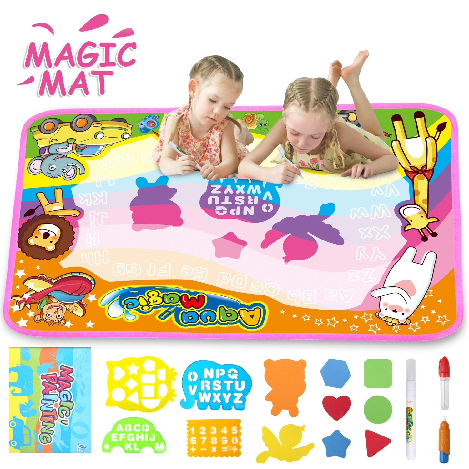 FONLLAM Aqua Magic Mat-Kids Doodle Water Drawing Mat-Educational Toys for 2 3 4 5+ Girls Boys Toddlers with 3 Water Pens and Drawing Booklet, 34'' X 22.5'' by FONLLAM