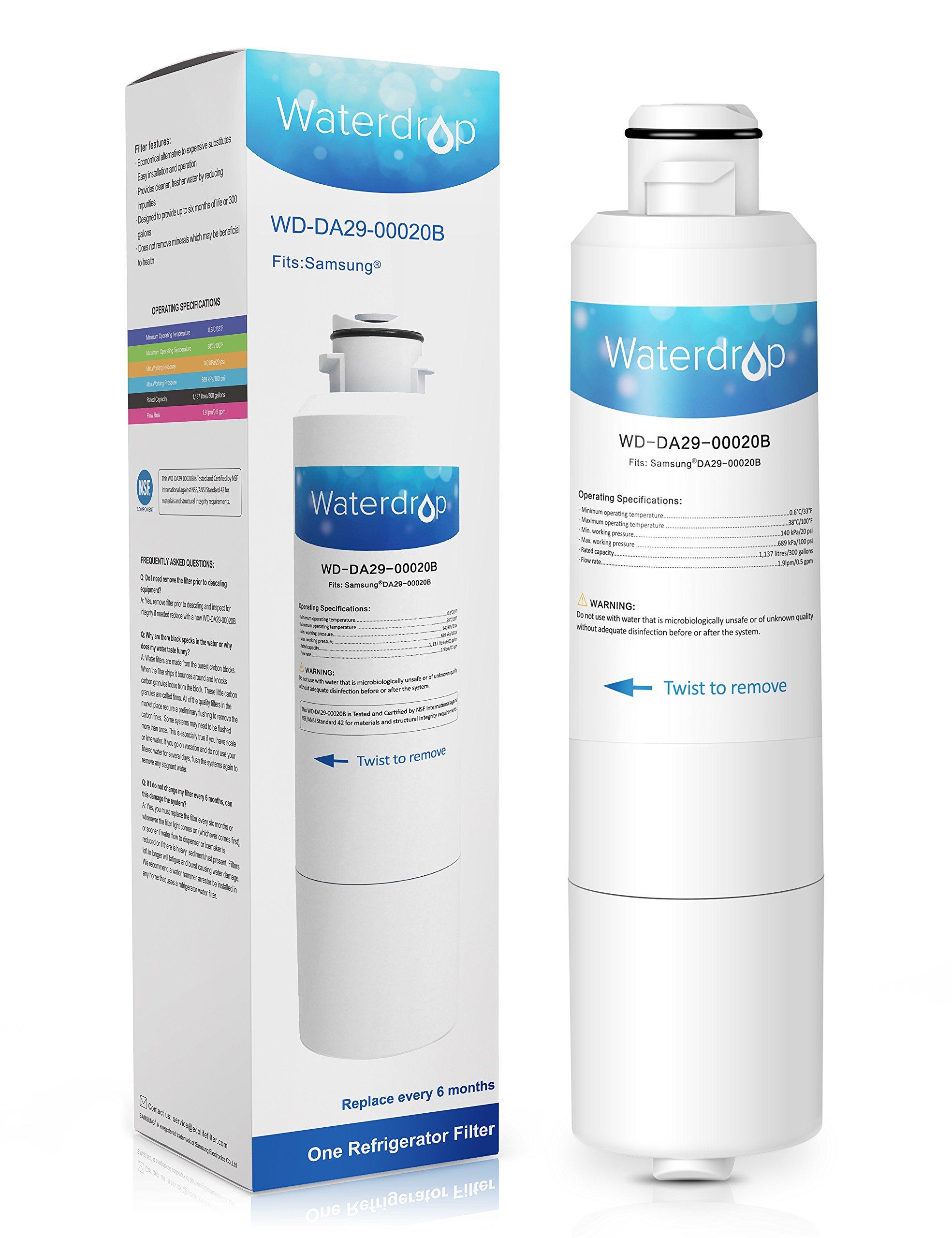Waterdrop DA29-00020B Replacement for Samsung DA29-00020B, DA29-00020A, HAF-CIN/EXP, 46-9101 Refrigerator Water Filter