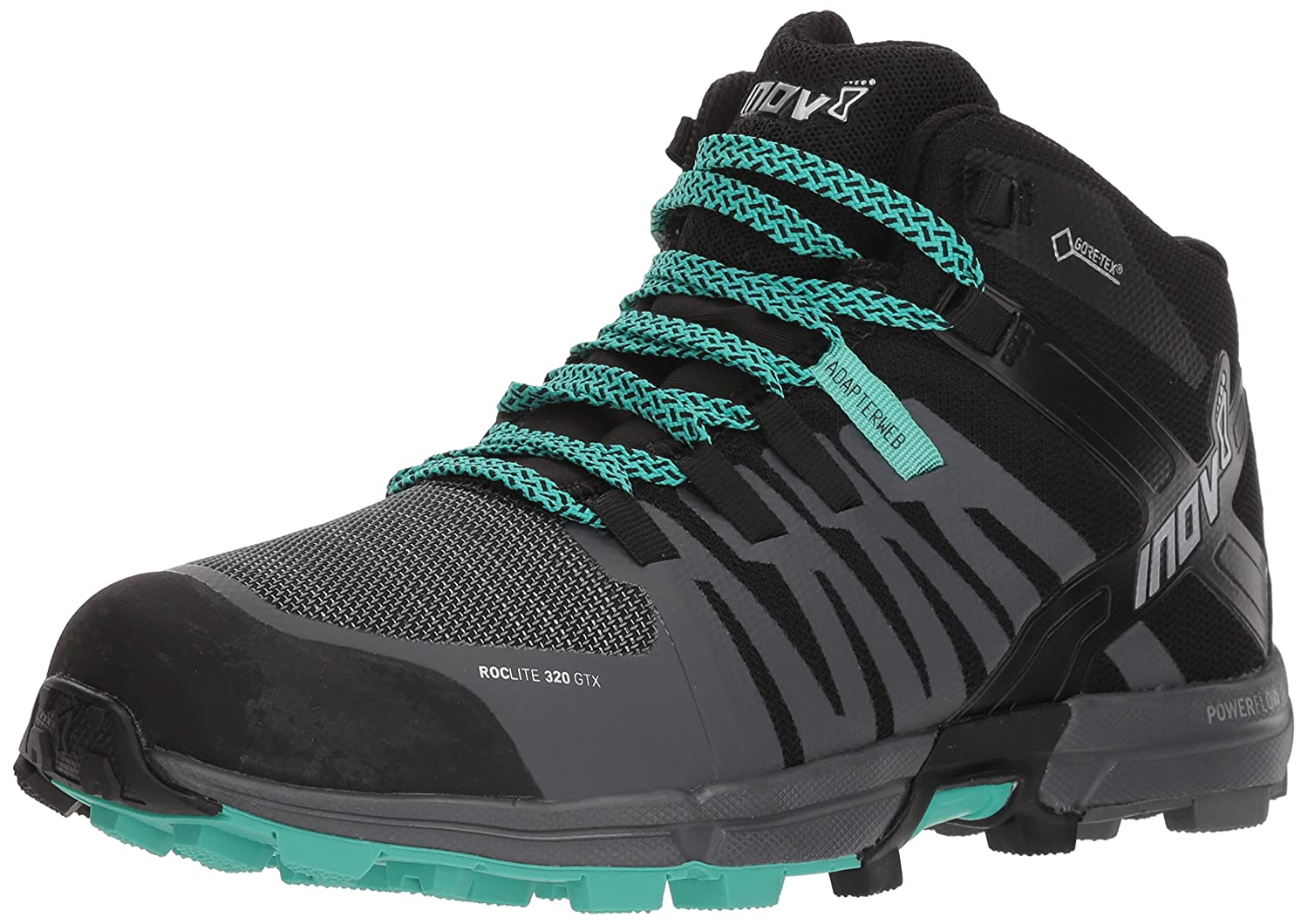 Inov-8 Womens Roclite 320 GTX B077P5KTG3 4 M UK|Black/Grey/Teal 1