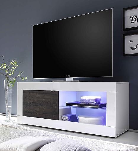 Mobili Porta Tv Lc.L C Basic Base Tv Piccola Legno Bianco Lucido Wenga 140 X 56 X
