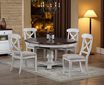 Amazon Com Sunset Trading Andrews Dining Table Set Antique White With Distressed Chestnut Top Table Chair Sets