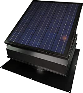 "30-Watt Solar Attic Fan with Thermostat/Humidistat/Adapter (22.5 x 22.5 x 11 in.) - Runs at Night - Brushless Motor – Solar Vent Hail and Weather Resistant – ""Builder Series"" by Remington Solar"
