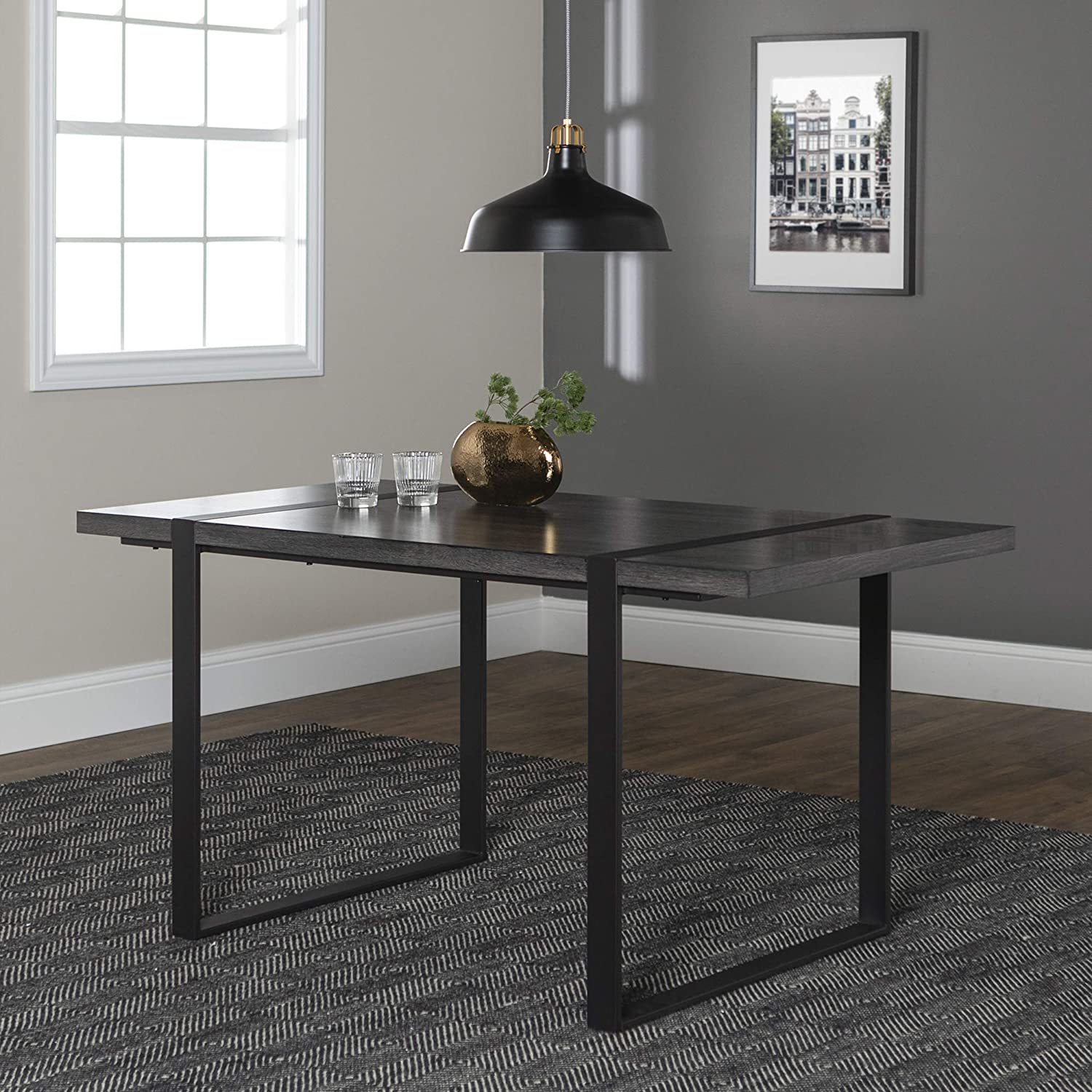 WE Furniture 6 Person Industrial Metal Wood Rectangle Kitchen Dining Table, 60 Inch, Charcoal Grey