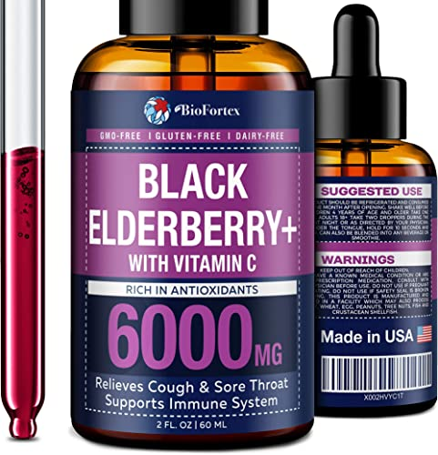 Elderberry Syrup with Vitamin C – Black Elderberry Syrup for Immune Support – Rich in Flavonoids Antioxidants – Organic Sambucus Elderberry Supplement – Vegan Elderberry for Adults Kids