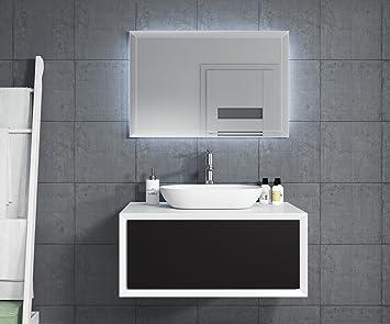 Badezimmer Badmöbel Furore 90 Cm Schwarz Unterschrank Led