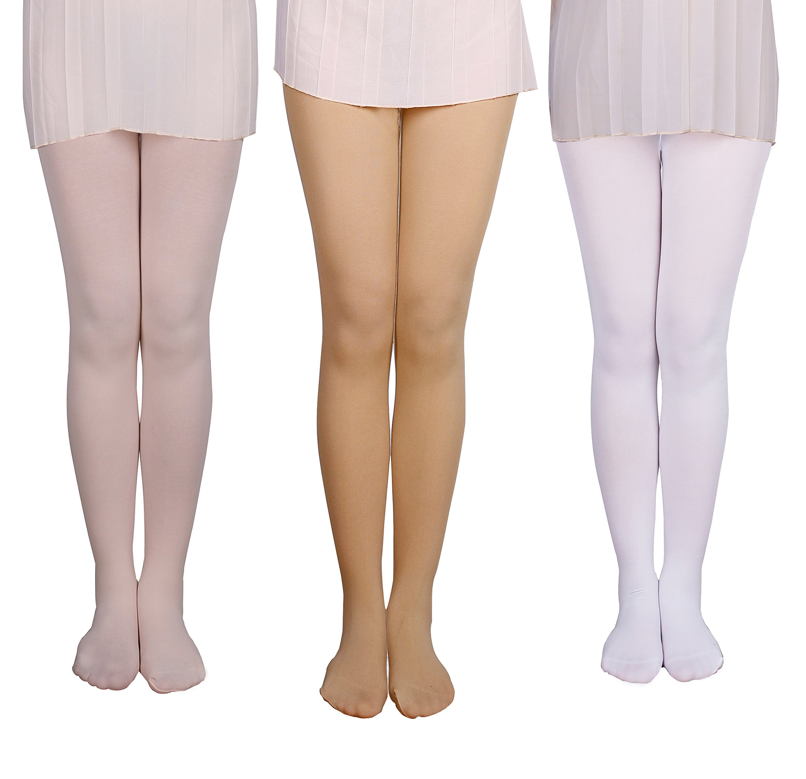 IRELIA Girls 3 Pack Tights Footed Ballet Dance Stocking 03 L
