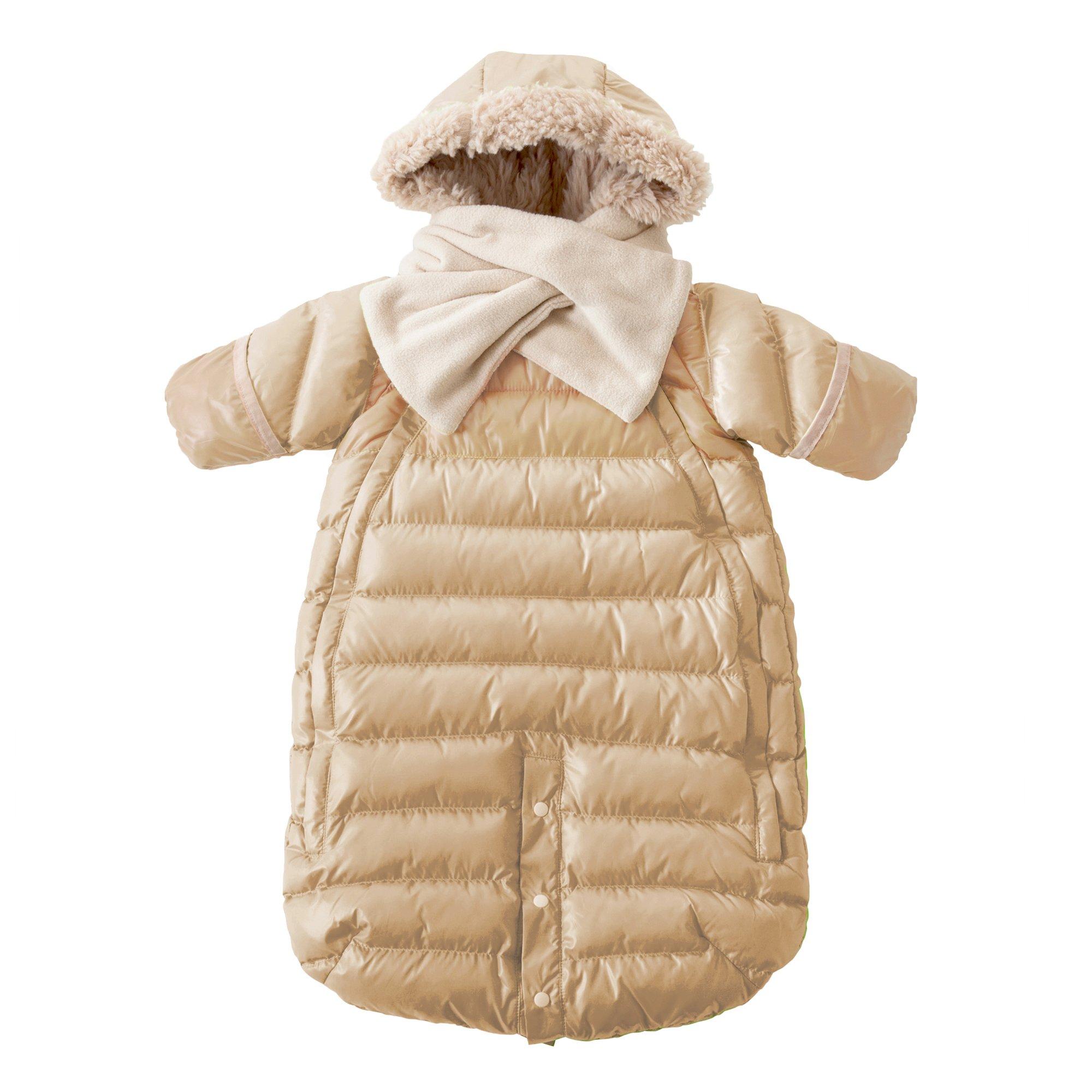 7AM Enfant Doudoune One Piece Infant Snowsuit Bunting, Beige, Small