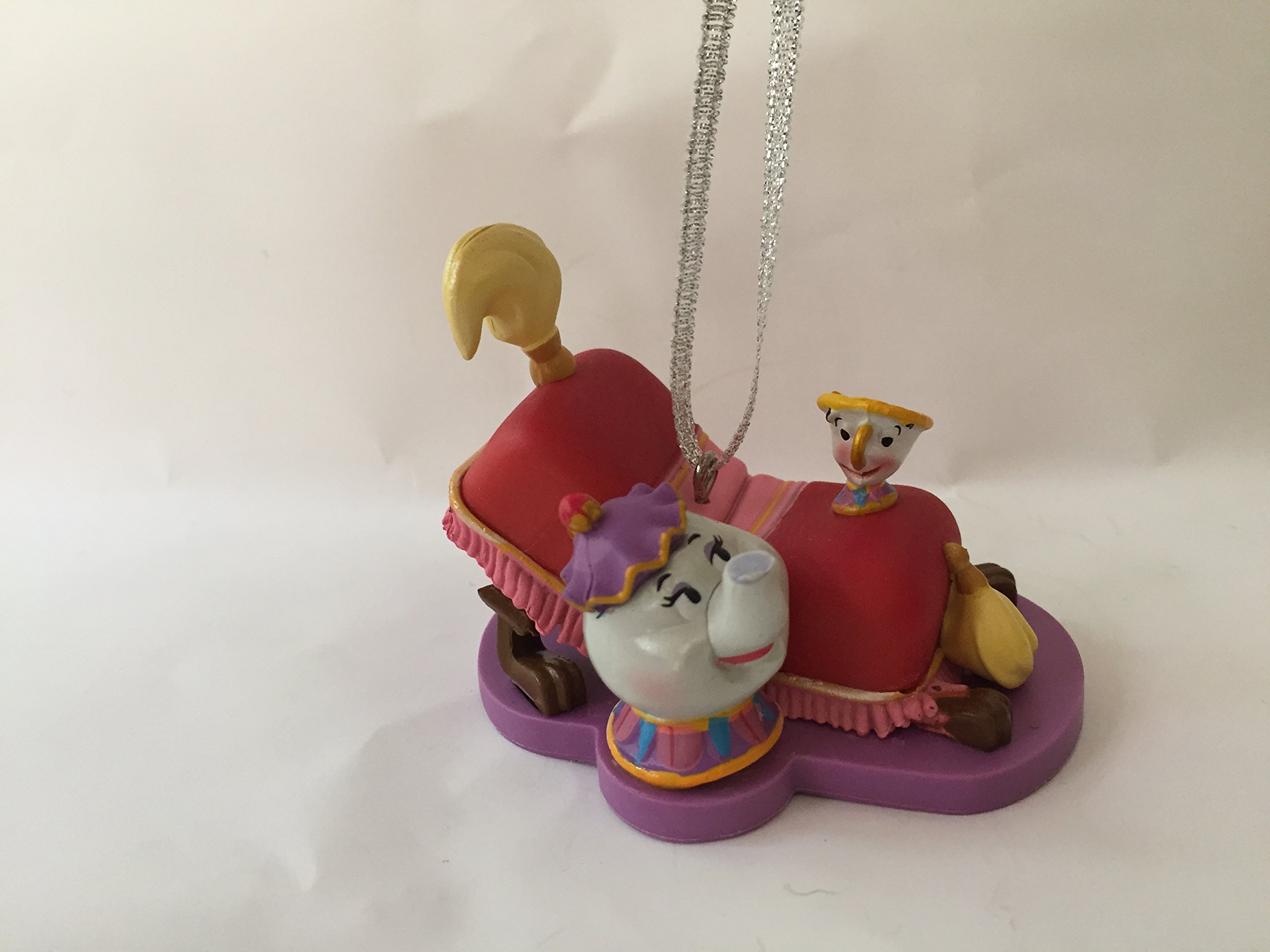 Disney Beauty and the Beast Sultan Foot Stool Footstool Babette Feather Duster Mrs Potts & Chip 2.5'' X 1.5'' Pvc Figure Holiday Christmas Ornament Toy
