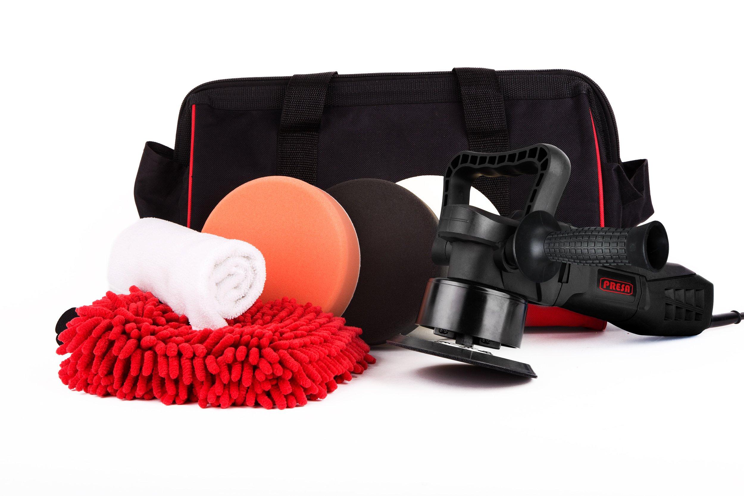 Presa Turbine All-in-One Dual Action DA Random Orbital Polisher Kit with Polishing Pads and Chenille Glove, 6''