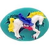 Yunko Carousel Horse Cake Decorating Tools Silicone Fondnt Mold Chocolate Candy Sugar Mould Unicorn Shape