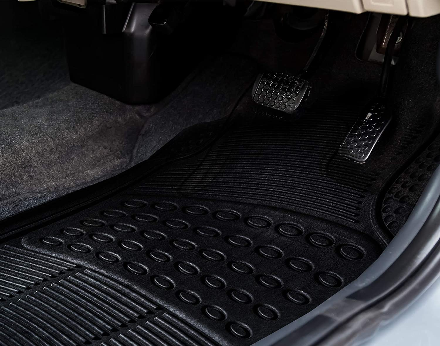 Water Proof All Weather 4 Piece Floor Mats KEPLIN Car Mat Universal Non-Slip Deep Grooved Heavy Duty Rubber for Cars SUV Truck and VAN