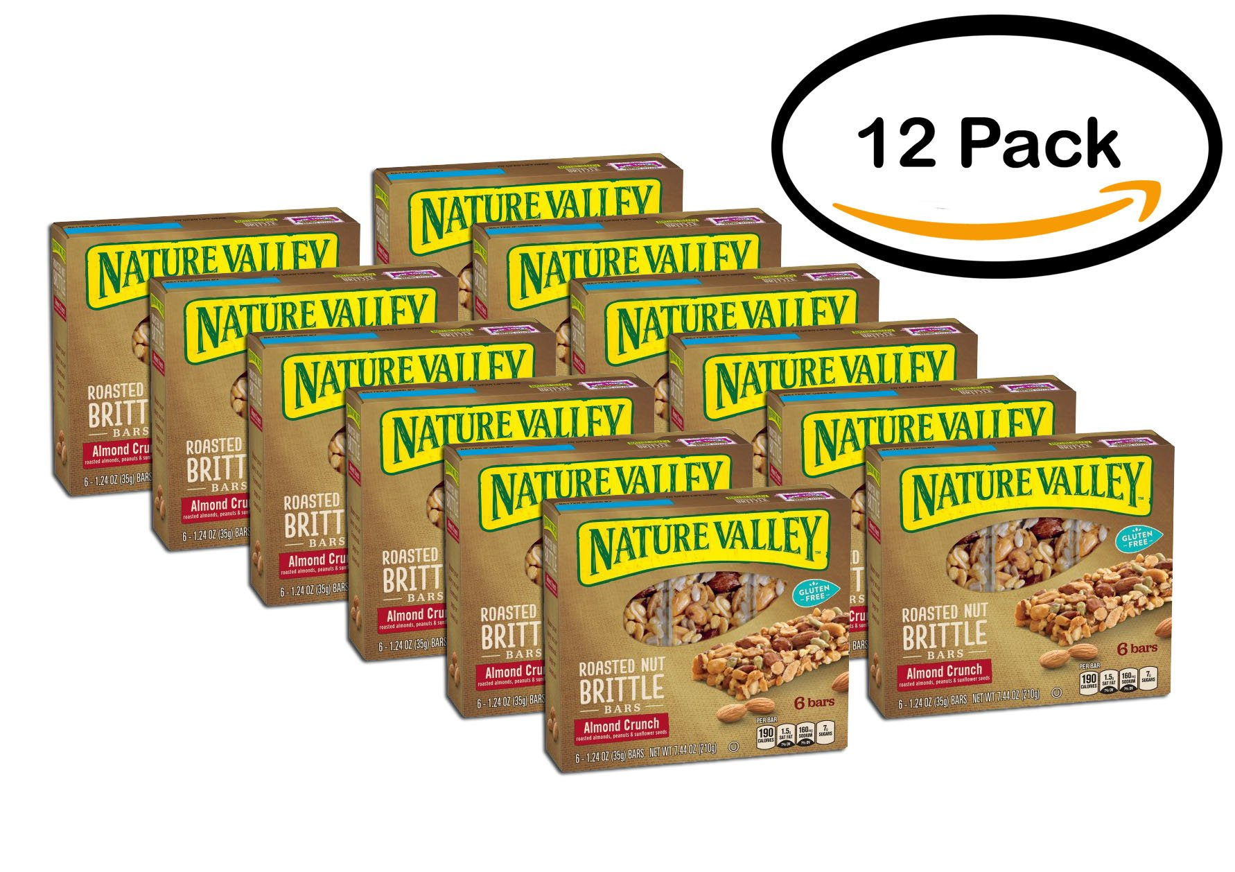 PACK OF 12 - Nature Valley Almond Crunch Roasted Nut Brittle Bars 6 ct Box