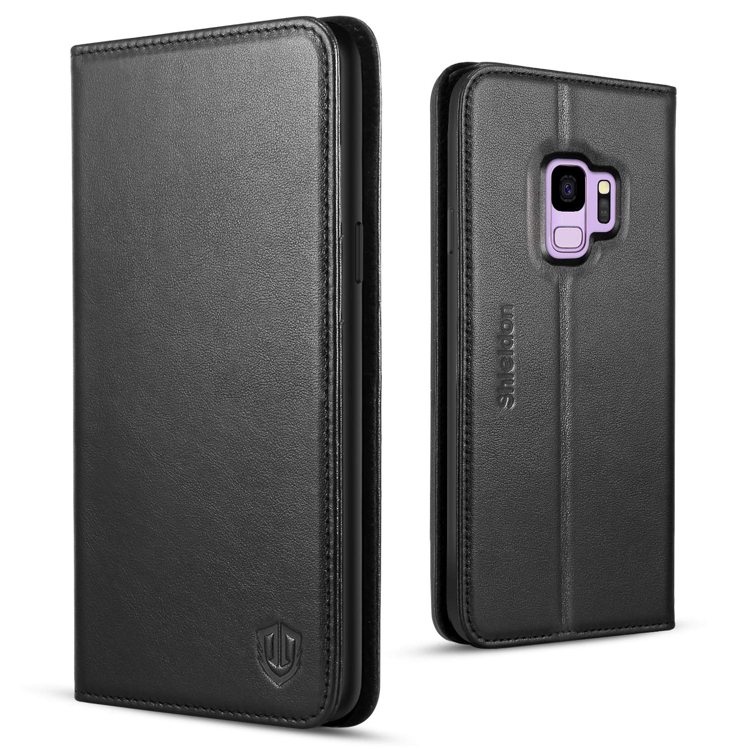 Galaxy S9 Case, SHIELDON Genuine Leather Premium Galaxy S9 Wallet Case [Folio Cover] [Stand Feature] with Credit Card Slots Full Protection Case Compatible with Galaxy S9 5.8'' - Black