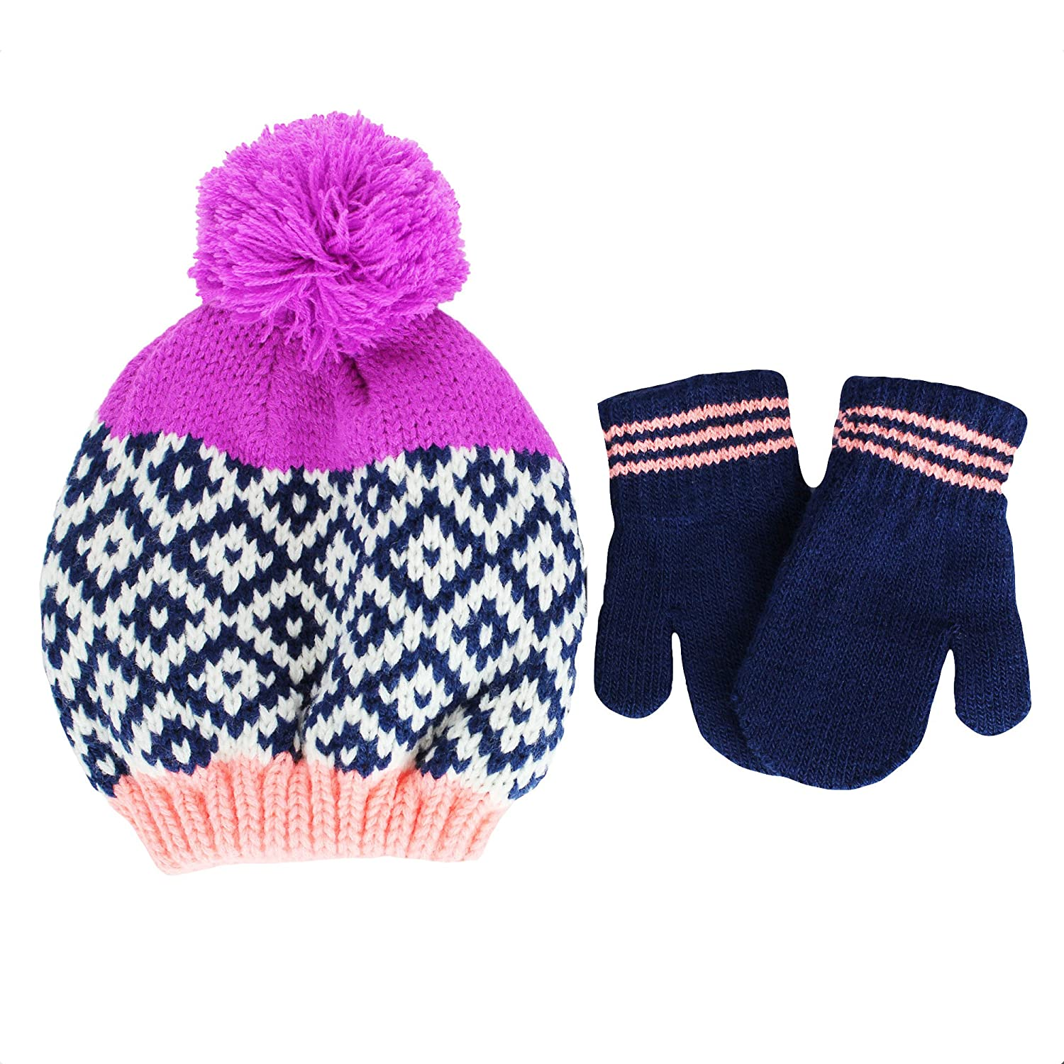 Amazon.com  Carter s Infant Girls Knit Winter Ski Hat and Mittens 12-24  mths Navy Purple  Clothing f2856d7ac8e