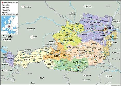 Austria Mapa Politico Papel Laminado A1 Size 59 4 X 84 1 Cm