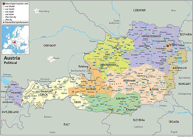Cartina Del Austria.Austria Mappa Politica Carta Plastificata A0 Size 84 1 X 118 9 Cm Amazon It Cancelleria E Prodotti Per Ufficio