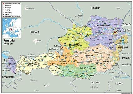 Osterreich Politische Karte Papier Laminiert A0 Size 84 1 X
